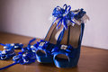 Blue bridal woman shoes Royalty Free Stock Photo