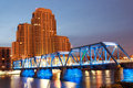 Blue bridge in grand rapids over the river michigan Royalty Free Stock Photos