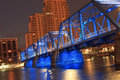 Blue bridge in grand rapids over the river michigan Stock Image