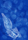 Blue bubble water background with fish Royalty Free Stock Photos