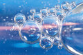Blue bubbles in clear water. Royalty Free Stock Photo
