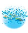 Blue bubbles fishes Стоковое Изображение RF