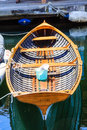 Blue Bucket in Wood Boat Royalty Free Stock Photo