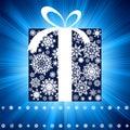 Blue burst with gift box. EPS 8 Royalty Free Stock Photo