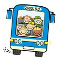 Blue bus and kids, school bus, vector humorous illustration Royalty Free Stock Photo