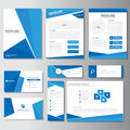 Blue business brochure flyer leaflet presentation card template Infographic elements flat design set for marketing Royalty Free Stock Photo