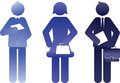 Blue business people silhouettes three abstract or outlines of Stock Images