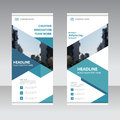 Blue business roll up banner flat design template abstract geometric banner vector illustration set Stock Photography