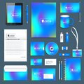 Blue business set of vector corporate identity template. Modern stationery mock-up. Abstract fluid 3d shapes vector Royalty Free Stock Photo