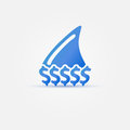 Blue business shark concept icon