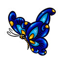 Blue butterfly glitter isolated illustration Royalty Free Stock Images
