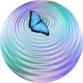 Blue Butterfly making ripples on water coaster drinks mat clock face Royalty Free Stock Photo