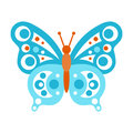 Blue butterfly with open wings vector Illustration