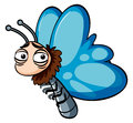 Blue butterfly with sleepy face