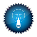 Blue button light bulb Royalty Free Stock Image