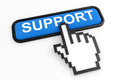 Blue button SUPPORT with hand cursor. Stock Photo