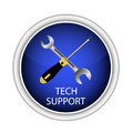Blue button technical support. Wrench and screwdriver. Vector