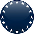 Blue Button with White Stars Royalty Free Stock Photo