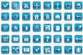 Blue buttons with icons for pc Stock Photos