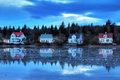 Blue cabins Iceland Royalty Free Stock Photo