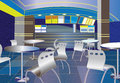 Blue cafe interior illustration Stock Photography