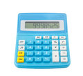 Blue calculator on white display number isolated background Stock Photography