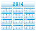 Blue calendar american version with public holidays Stock Photos