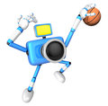 Blue camera characte playing a dunk shot create d camera robot pink character gesture of love in to the left toward series Stock Images