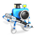 Blue camera character ballpoint pen handwriting create d camera robot series Royalty Free Stock Photo