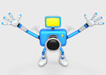 Blue Camera Character expand the with both hands towards the sky Royalty Free Stock Images