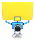 Blue Camera Character up yellow board a thing with both hands. C Royalty Free Stock Images