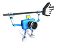 That blue camera holding a large cursor indicate a direction cr create d robot series Royalty Free Stock Photography