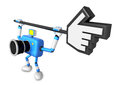 That blue camera holding a large cursor indicate a direction cr create d robot series Royalty Free Stock Photo