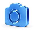 Blue camera icon d digital photo on white background Royalty Free Stock Photos