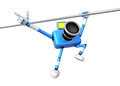 Blue camera with one hand horizontal bar exercises create d ca robot series Royalty Free Stock Photo