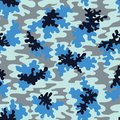 Blue Camo Vector Seamless Pattern. Fashion Marine Camouflage Background.