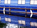 Blue canal boat close up Royalty Free Stock Photo