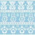 Blue candinavian vintage Christmas Nordic seamless pattern with penguin, angel, teddy bear, xmas gifts, hearts, decorative orname