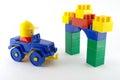 Blue car mechanical plastic toy front color gate Stock Images