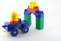 Blue car mechanical plastic toy front color gate shallow dof Royalty Free Stock Photos