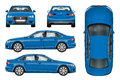 Blue car vector template