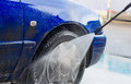 Blue car wash. Royalty Free Stock Photo