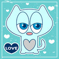 Blue card with cute kitten Stock Images