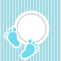 Blue card invitation baby feet Royalty Free Stock Image