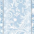Blue card with lace wedding invitation or greeting delicate weave vector illustration Royalty Free Stock Photos
