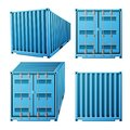 Blue Cargo Container Vector. Realistic 3D Metal Classic Cargo Container. Freight Shipping Concept. Transportation Mock