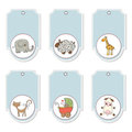 Blue cartoon animals labels set Stock Image