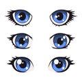 Blue Cartoon Anime Eyes Set. V...