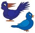 Blue cartoon birds Royalty Free Stock Photography