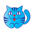 Blue cartoon cat vector smiling Royalty Free Stock Photo
